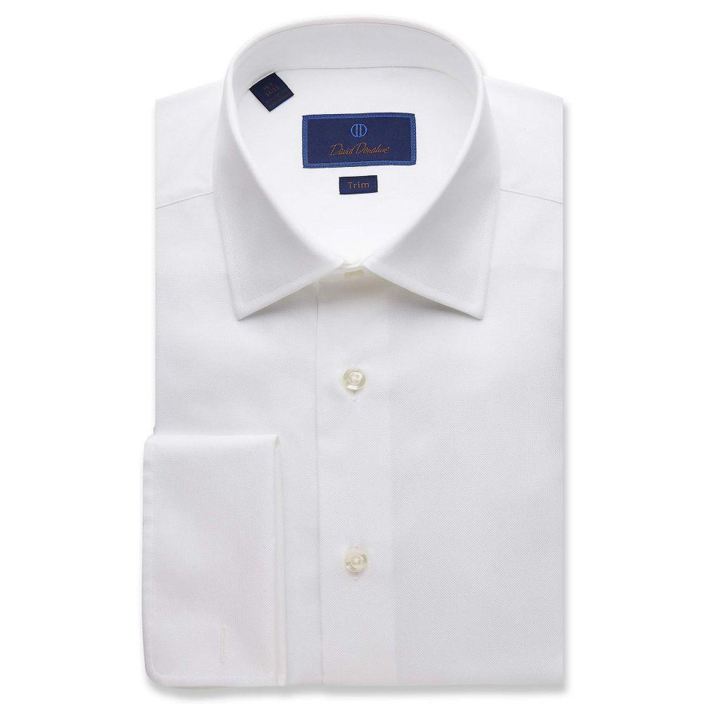 デビッドドナヒュー David Donahue メンズ シャツ トップス【Trim Fit Micro Birdseye Dress Shirt】White