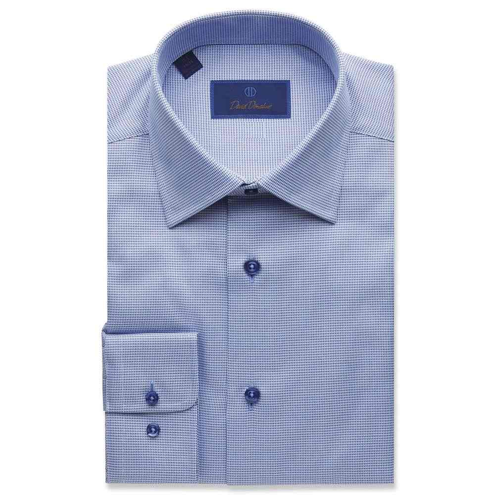 デビッドドナヒュー David Donahue メンズ シャツ トップス【Regular Fit Micro Tonal Tic Dress Shirt】Blue