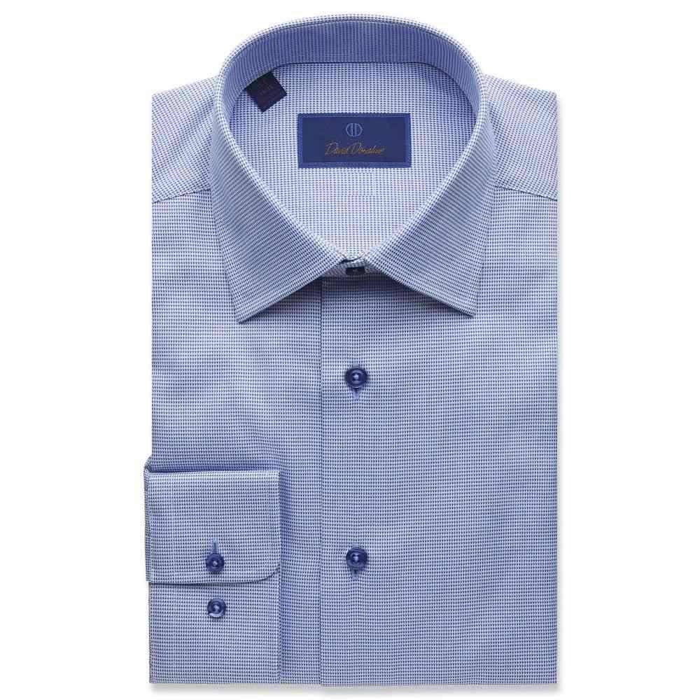 デビッドドナヒュー David Donahue メンズ シャツ トップス【Regular Fit Micro Tonal Tic Dress Shirt】Blue