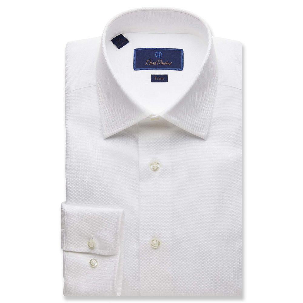 デビッドドナヒュー David Donahue メンズ シャツ トップス【Trim Fit Royal Oxford Dress Shirt】White