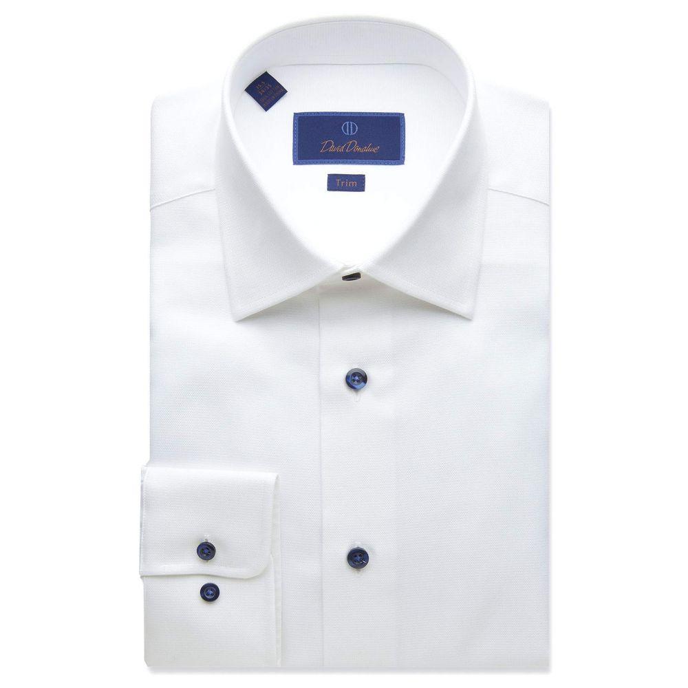 デビッドドナヒュー David Donahue メンズ シャツ トップス【Trim Fit Micro Textured Dress Shirt】White