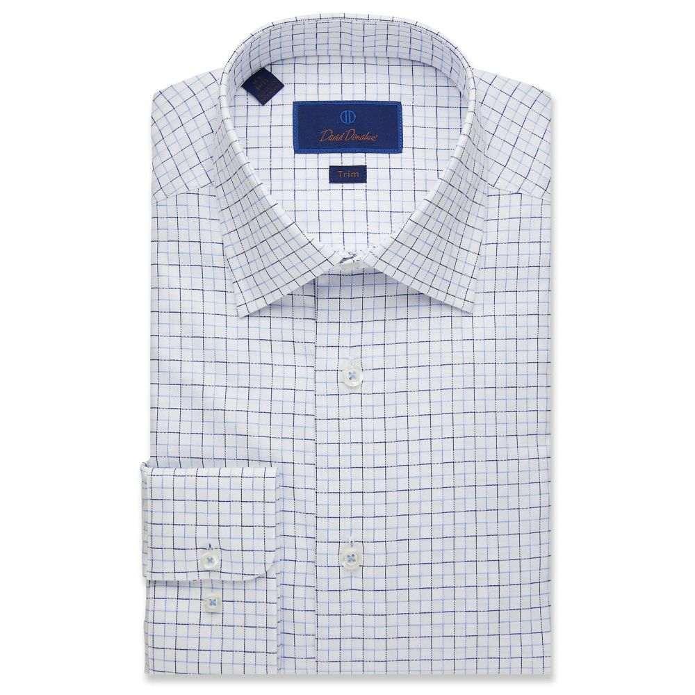デビッドドナヒュー David Donahue メンズ シャツ トップス【Trim Fit Textured Outlined Check Dress Shirt】White