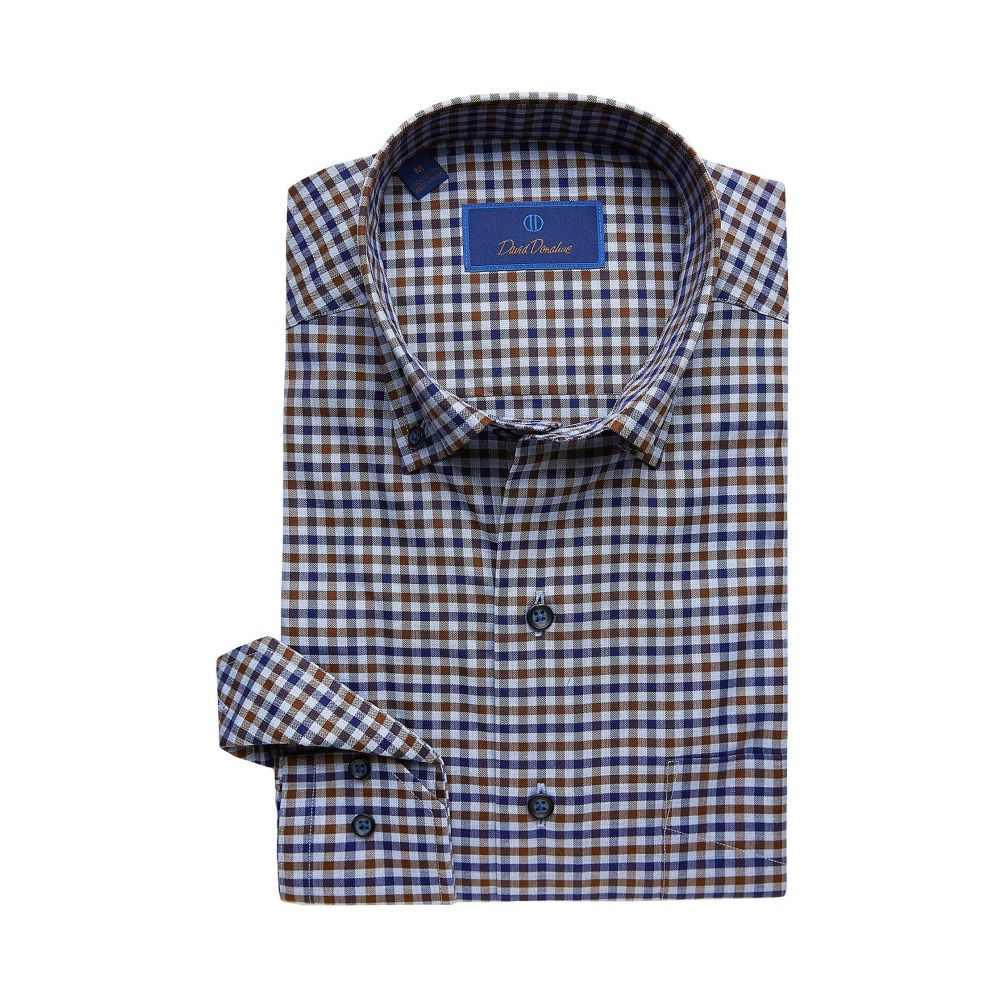デビッドドナヒュー David Donahue メンズ シャツ トップス【Casual Fit Button Down Collar Long Sleeve Sport Shirt】Navy/Chocolate