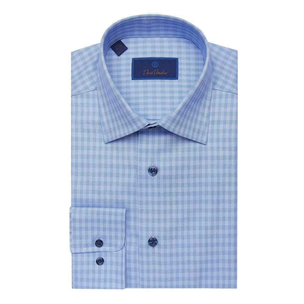 デビッドドナヒュー David Donahue メンズ シャツ トップス【Regular Fit Tonal Check Dress Shirt】Blue