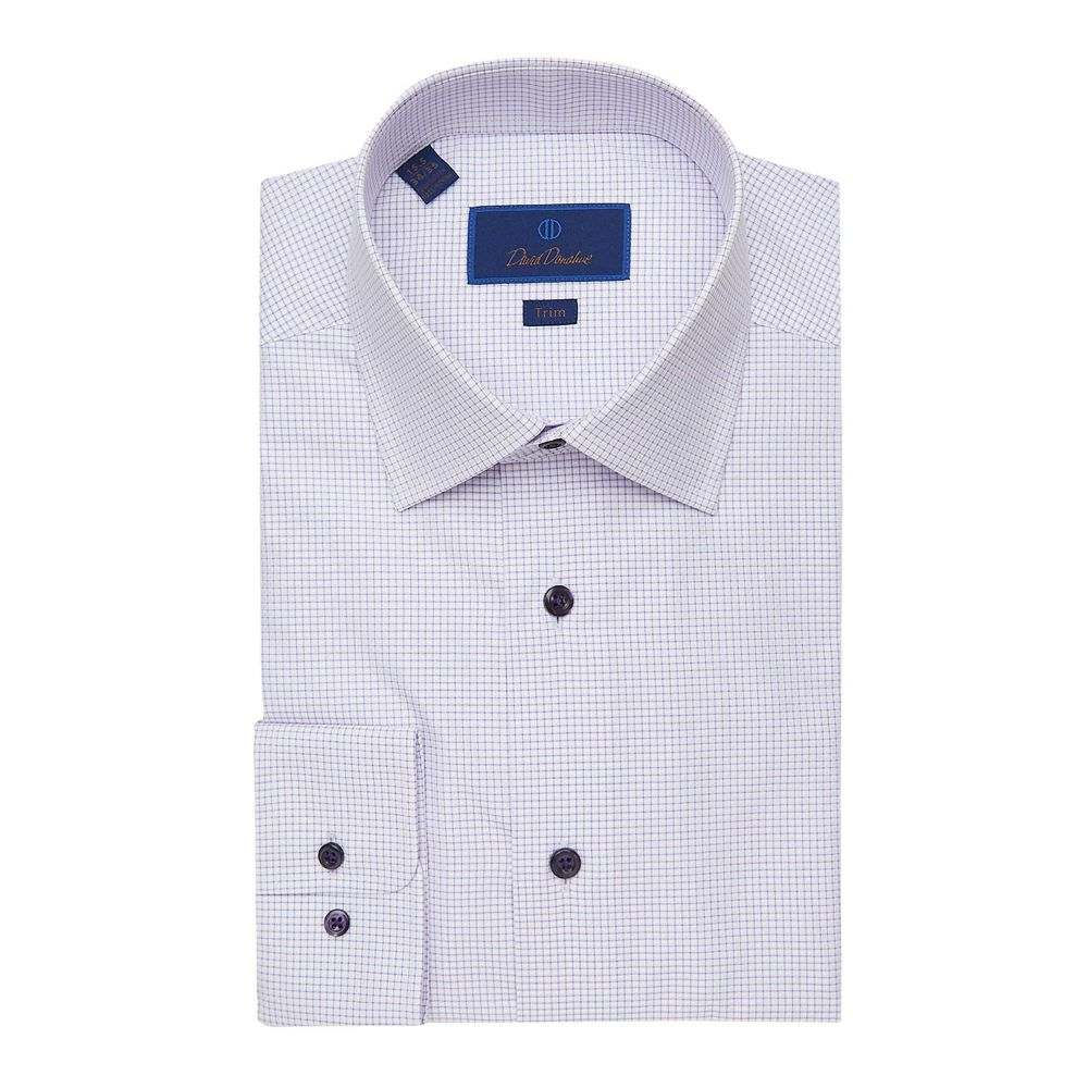 デビッドドナヒュー David Donahue メンズ シャツ トップス【Trim Fit Mini Check Dress Shirt】White/Lilac