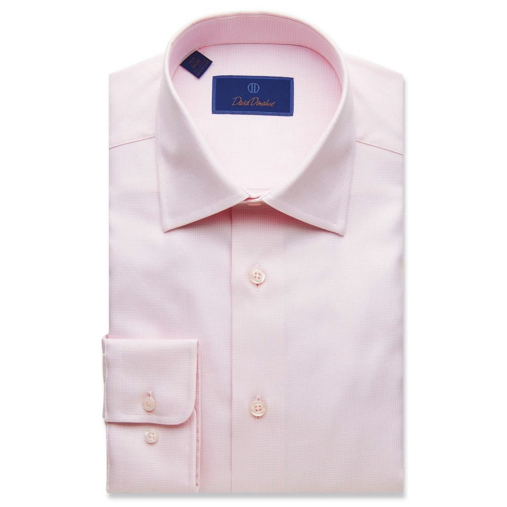 デビッドドナヒュー David Donahue メンズ シャツ トップス【Regular Fit Micro Basketweave Dress Shirt】Pink