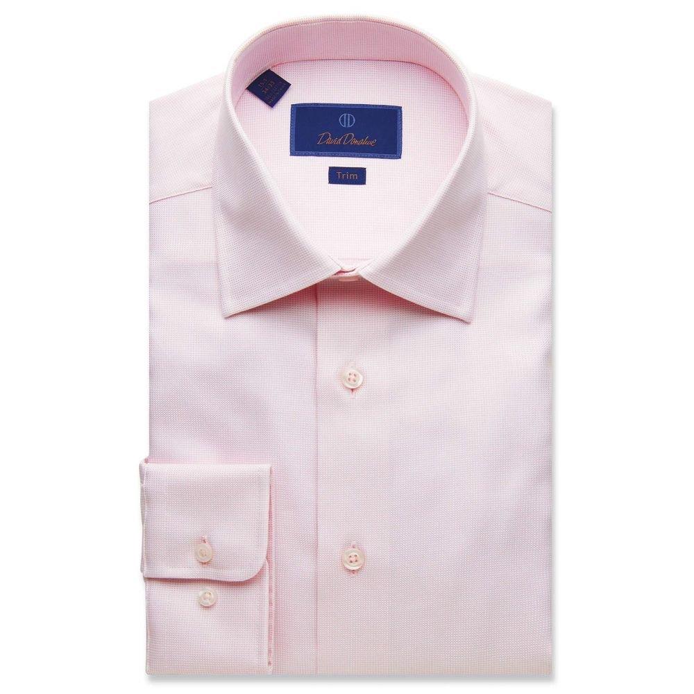 デビッドドナヒュー David Donahue メンズ シャツ トップス【Trim Fit Micro Basketweave Dress Shirt】Pink