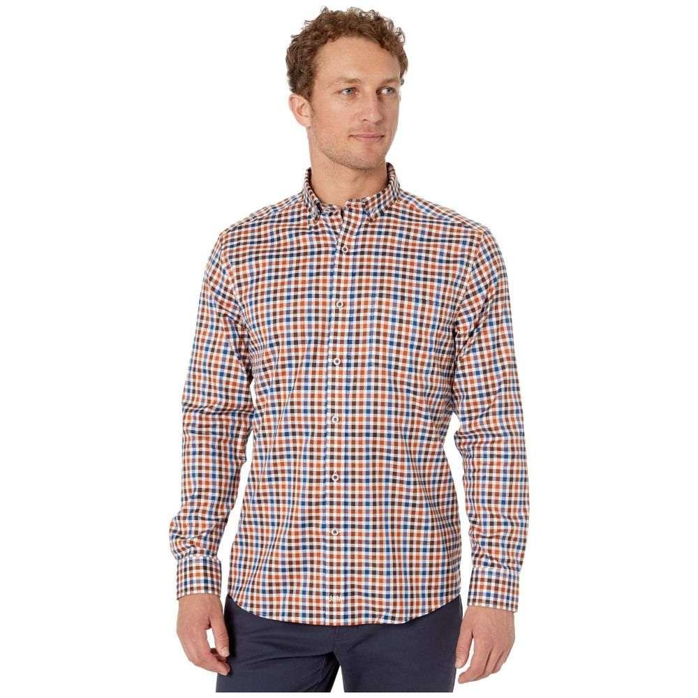 ジョンストン&マーフィー Johnston & Murphy メンズ シャツ トップス【Multi-Twill Gingham Shirt】Rust Multi