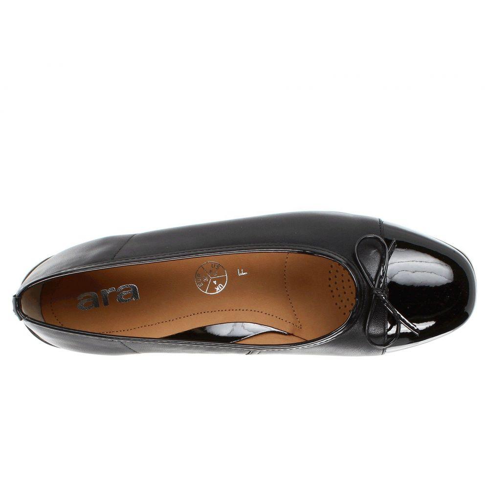 アラ ara レディース スリッポン・フラット シューズ・靴 Bella Black Leather w Patent ToeW2DHe9IYE