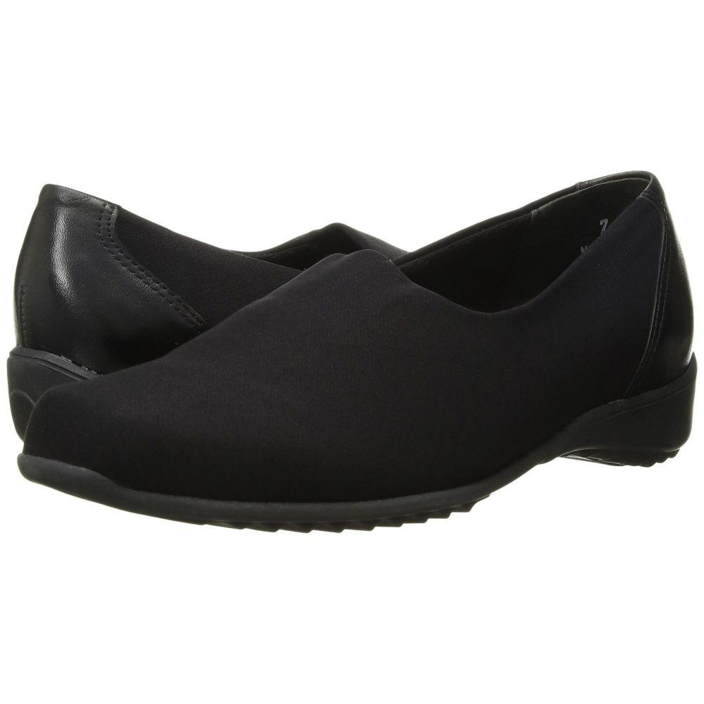 マンロー Munro レディース スリッポン・フラット シューズ・靴【Traveler】Black Stretch Fabric