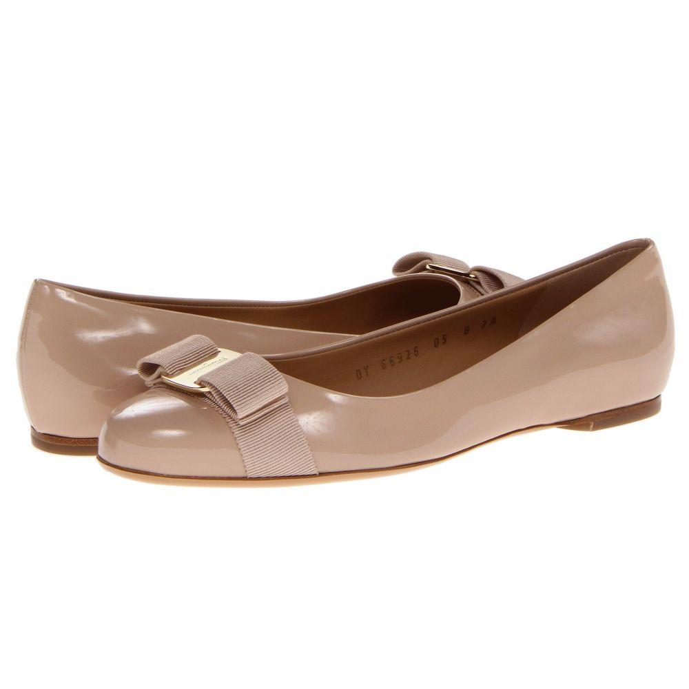 サルヴァトーレ フェラガモ Salvatore Ferragamo レディース スリッポン・フラット バレエシューズ シューズ・靴【Varina Ballet Flat w/ Bow】New Bisque Patent