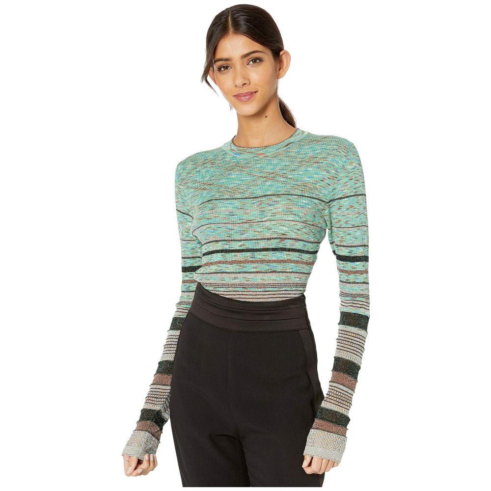 ミッソーニ M Missoni レディース ニット・セーター トップス【Striped Lurex Long Sleeve Crew Neck Sweater】Fair Green