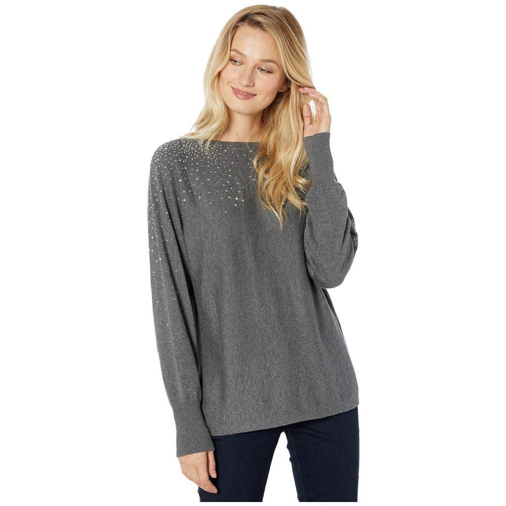 ヴィンス カムート Vince Camuto レディース ニット・セーター トップス【Long Sleeve All Over Embellished V-Back Sweater】Medium Heather Grey