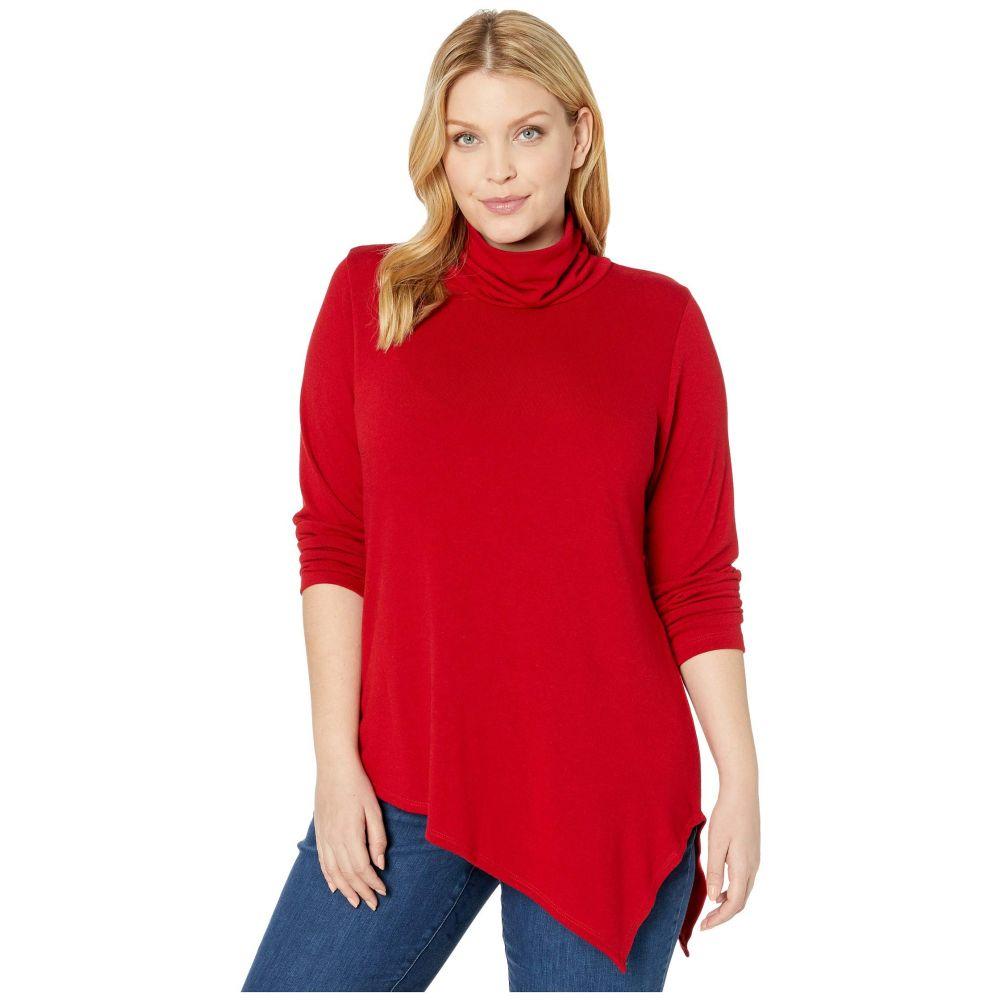 カレンケーン Karen Kane Plus レディース ニット・セーター 大きいサイズ トップス【Plus Size Asymmetric Turtleneck Sweater】Red