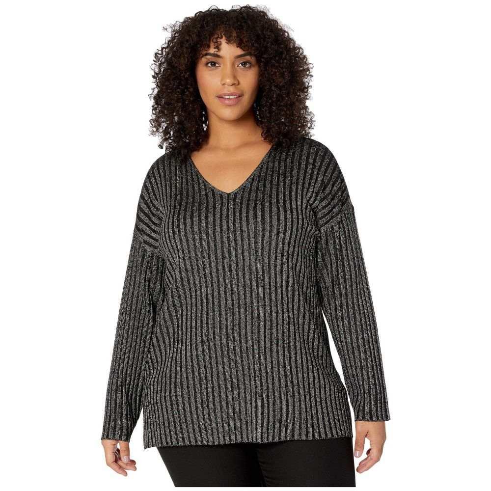 ヴィンス カムート Vince Camuto Specialty Size レディース ニット・セーター 大きいサイズ Vネック トップス【Plus Size Long Sleeve Rib Stripe V-Neck Sweater】Rich Black