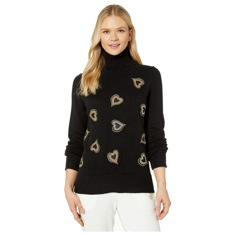 ヴィンス カムート Vince Camuto レディース ニット・セーター トップス【Long Sleeve Heart Embellished Turtleneck Sweater】Rich Black