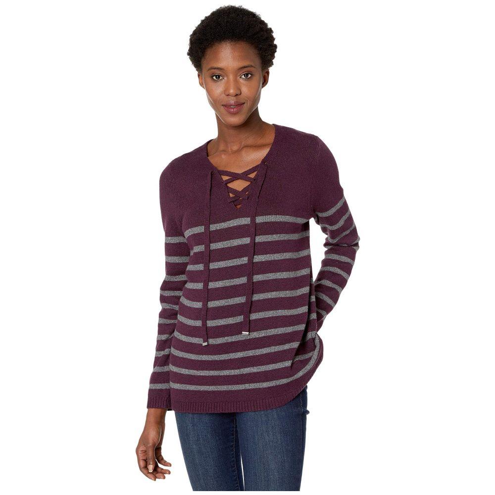 カルバンクライン Calvin Klein レディース ニット・セーター レースアップ トップス【Striped Lace-Up Sweater】Aubergine/Charcoal