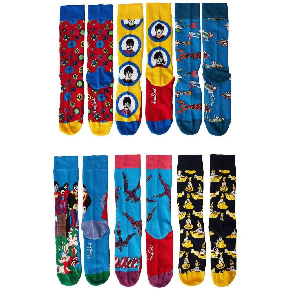 ハッピーソックス Happy Socks レディース ソックス 6点セット インナー・下着【Beatles 50th Anniversary LP Collector's Box 6-Pack】Blue Combo
