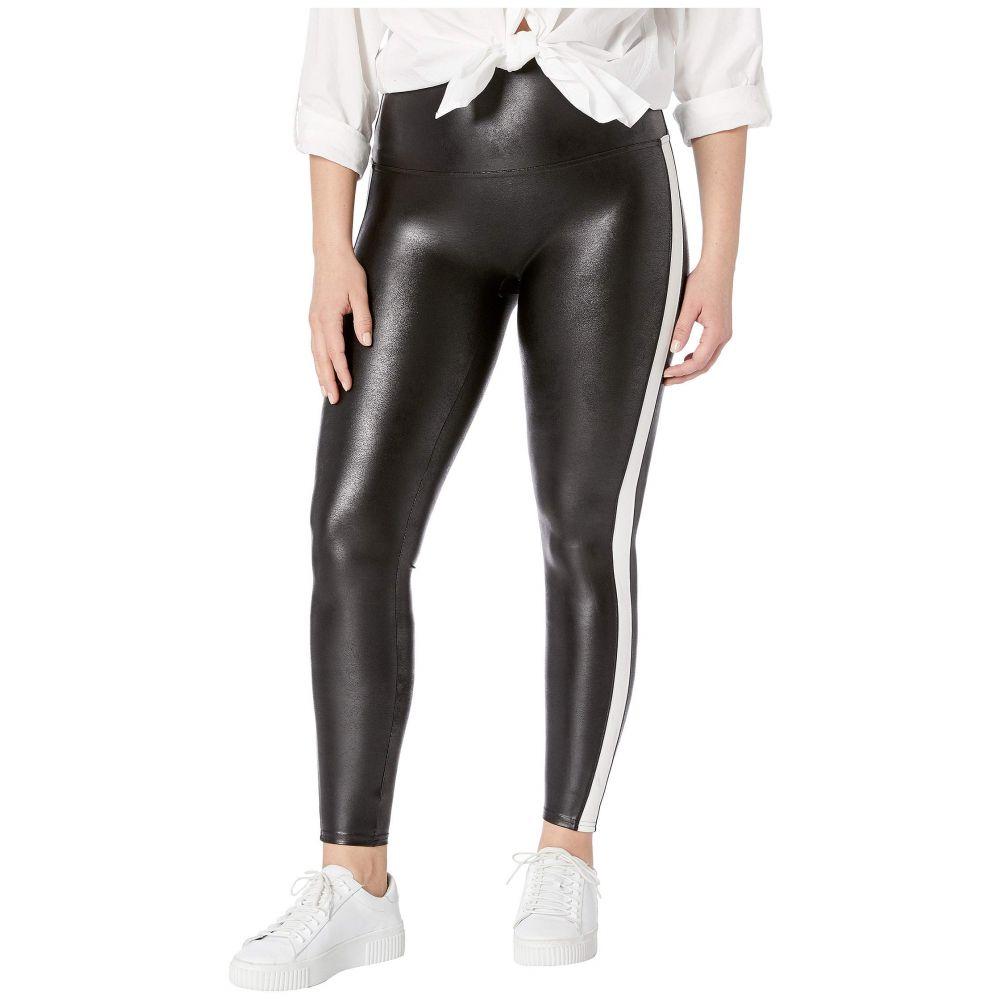 スパンクス Spanx レディース ボトムス・パンツ 大きいサイズ レザーレギンス Plus Size Faux Leather Side Stripe Leggings Very Black Whitenw0O8Pk