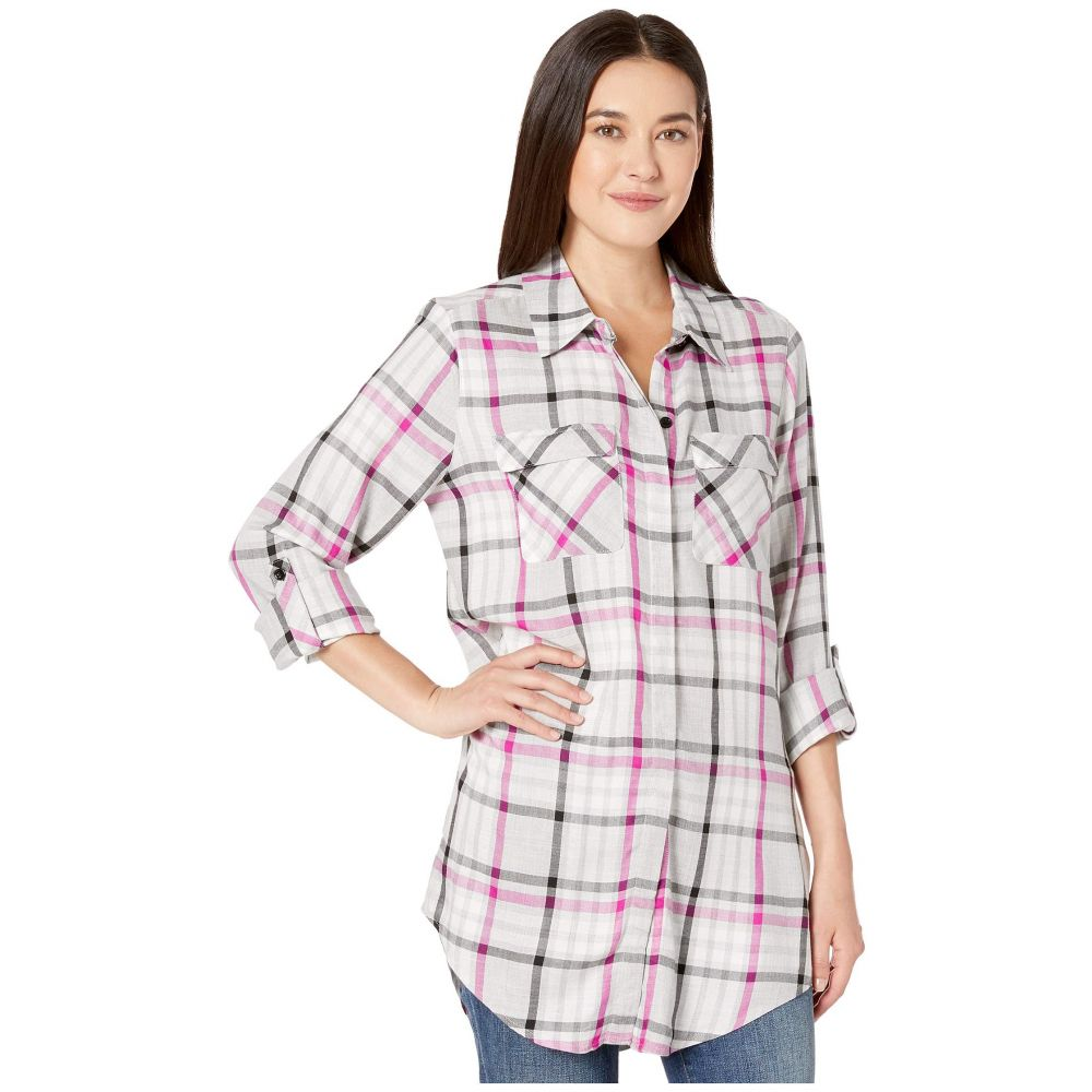 ヴィンス カムート TWO by Vince Camuto レディース チュニック トップス【Long Sleeve Plaid Highlight Two-Pocket Tunic】Pink Shock