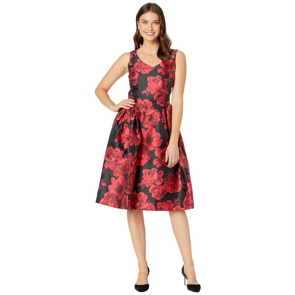 タハリ Tahari by ASL レディース パーティードレス Vネック ワンピース・ドレス【V-Neck Printed Jacquard Party Dress】Red/Black Floral