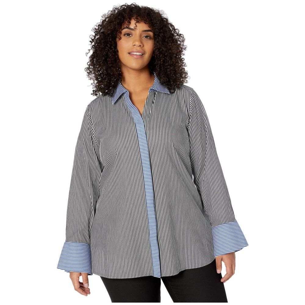 フォックスクロフト Foxcroft レディース ブラウス・シャツ 大きいサイズ トップス【Plus Size Kyla Non Iron Stripe Shirt】Black