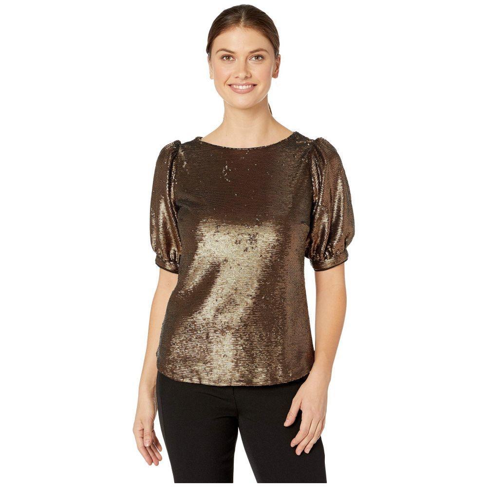 ラルフ ローレン LAUREN Ralph Lauren レディース ブラウス・シャツ トップス【Metallic Sequined Shirt】Bronze