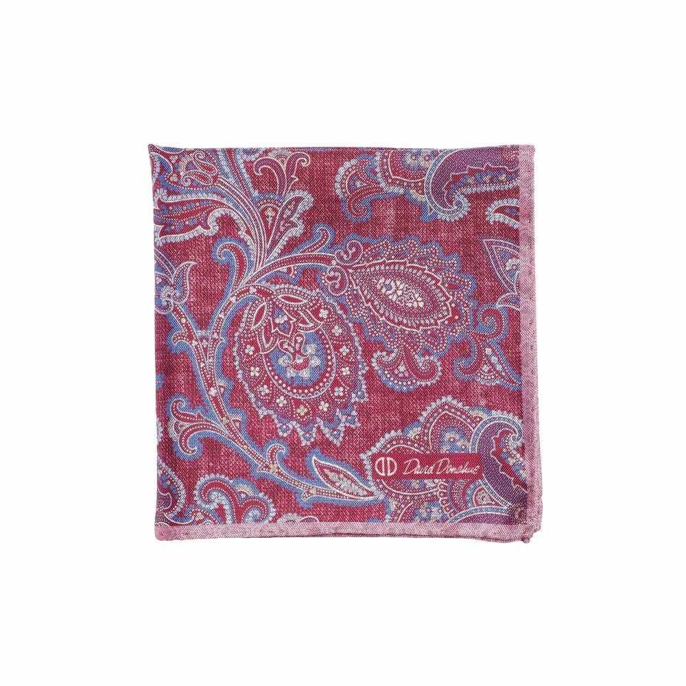 デビッドドナヒュー David Donahue メンズ ハンカチ・チーフ 【Paisley Double-Sided Silk Pocket Square】Berry