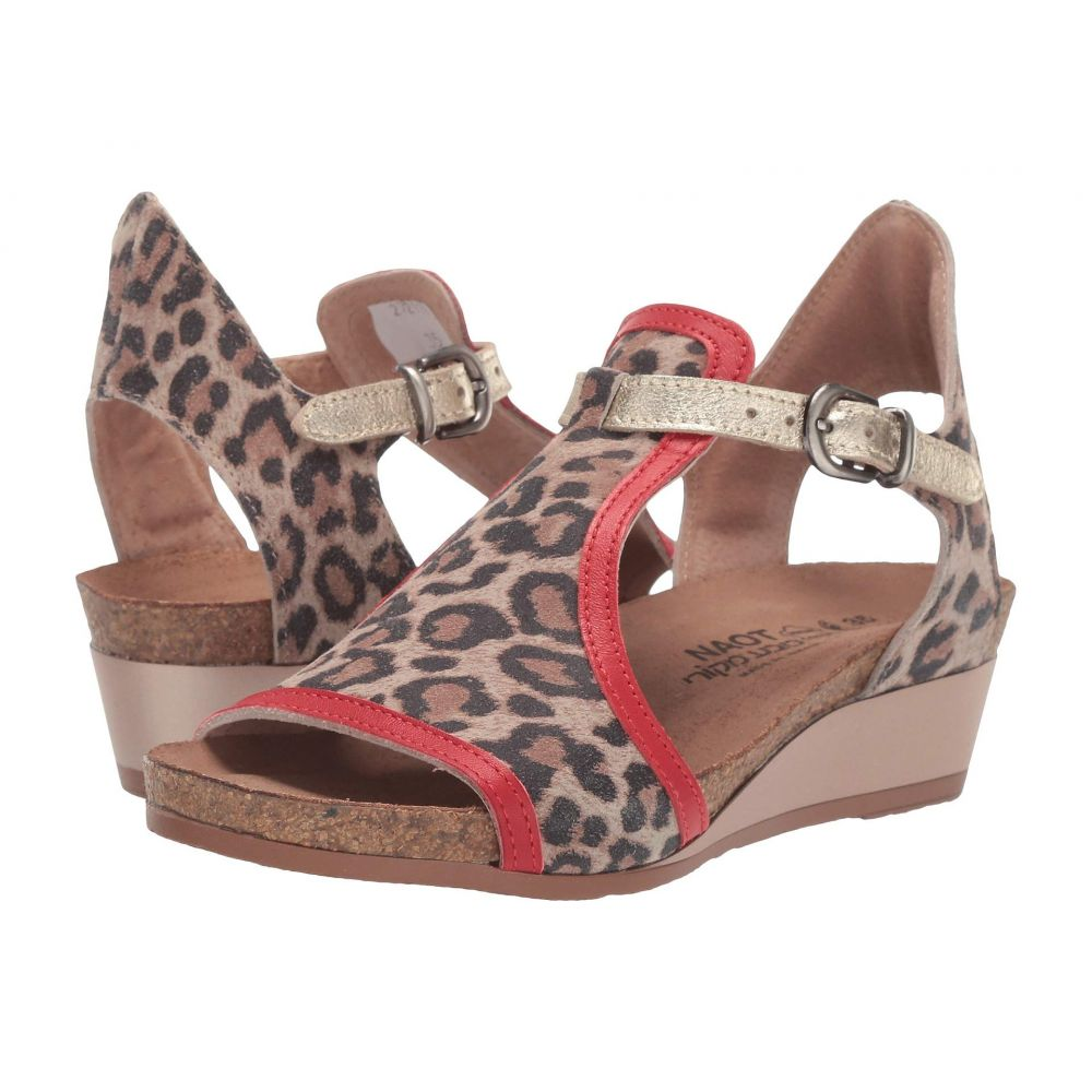 ナオト Naot レディース ヒール シューズ・靴【Fiona】Cheetah Suede/Kiss Red Leather/Radiant Gold Leather