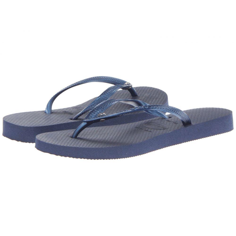 ハワイアナス Havaianas レディース ビーチサンダル シューズ・靴【Slim Crystal Glamour SW Flip Flops】Navy Blue