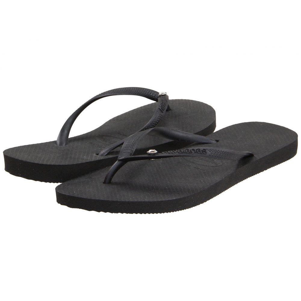ハワイアナス Havaianas レディース ビーチサンダル シューズ・靴【Slim Crystal Glamour SW Flip Flops】Black