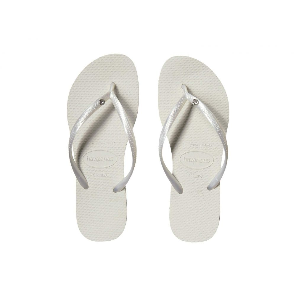 ハワイアナス Havaianas レディース ビーチサンダル シューズ・靴【Slim Crystal Glamour SW Flip Flops】White/Metallic