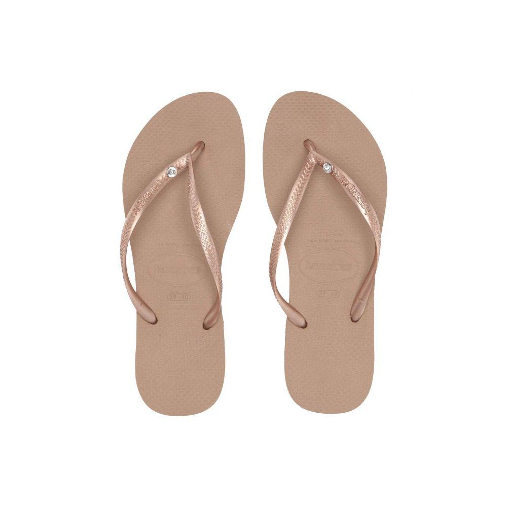 ハワイアナス Havaianas レディース ビーチサンダル シューズ・靴【Slim Crystal Glamour SW Flip Flops】Rose Gold/Rose Gold Metallic