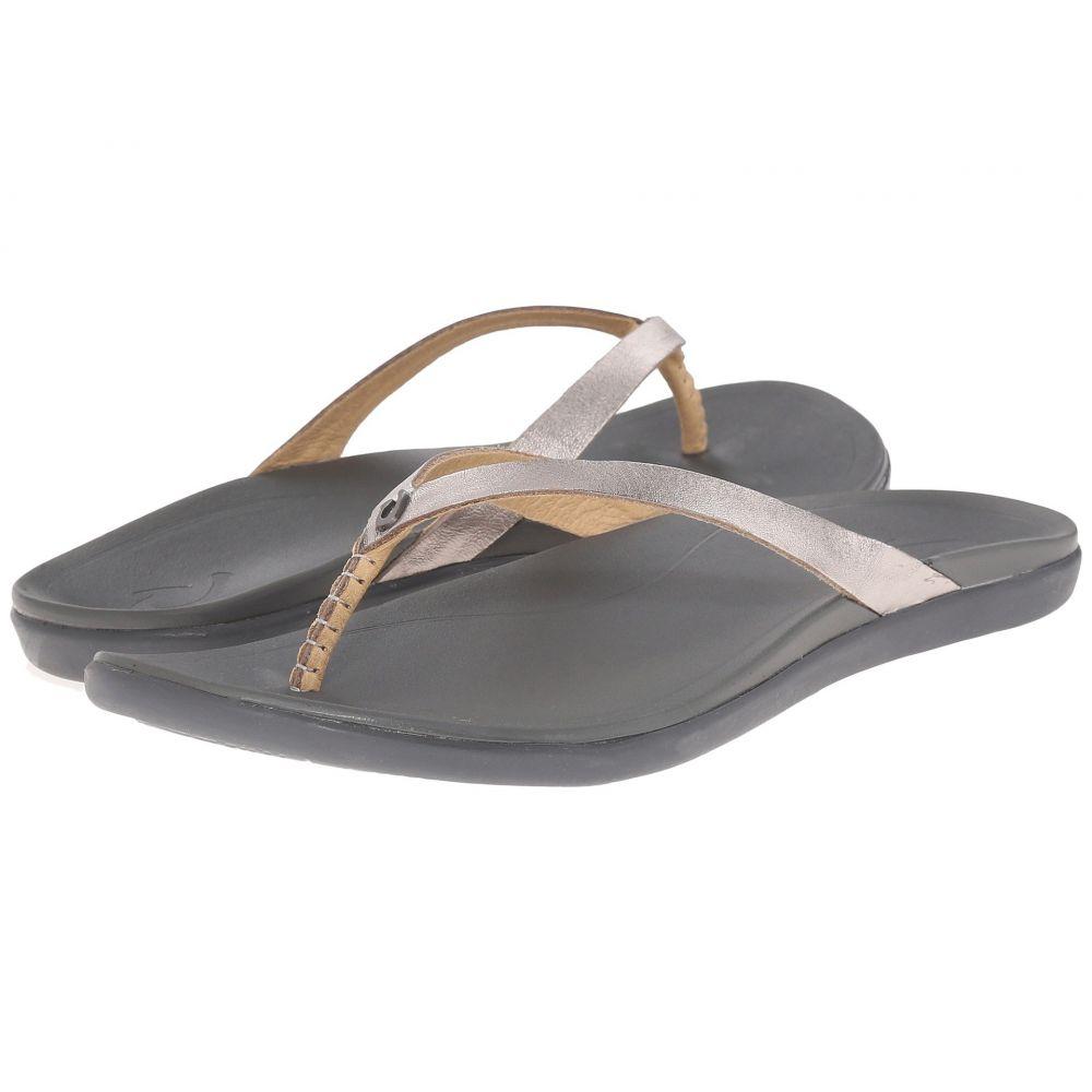 オルカイ OluKai レディース ビーチサンダル シューズ・靴【Ho'opio Leather】Sliver/Charcoal