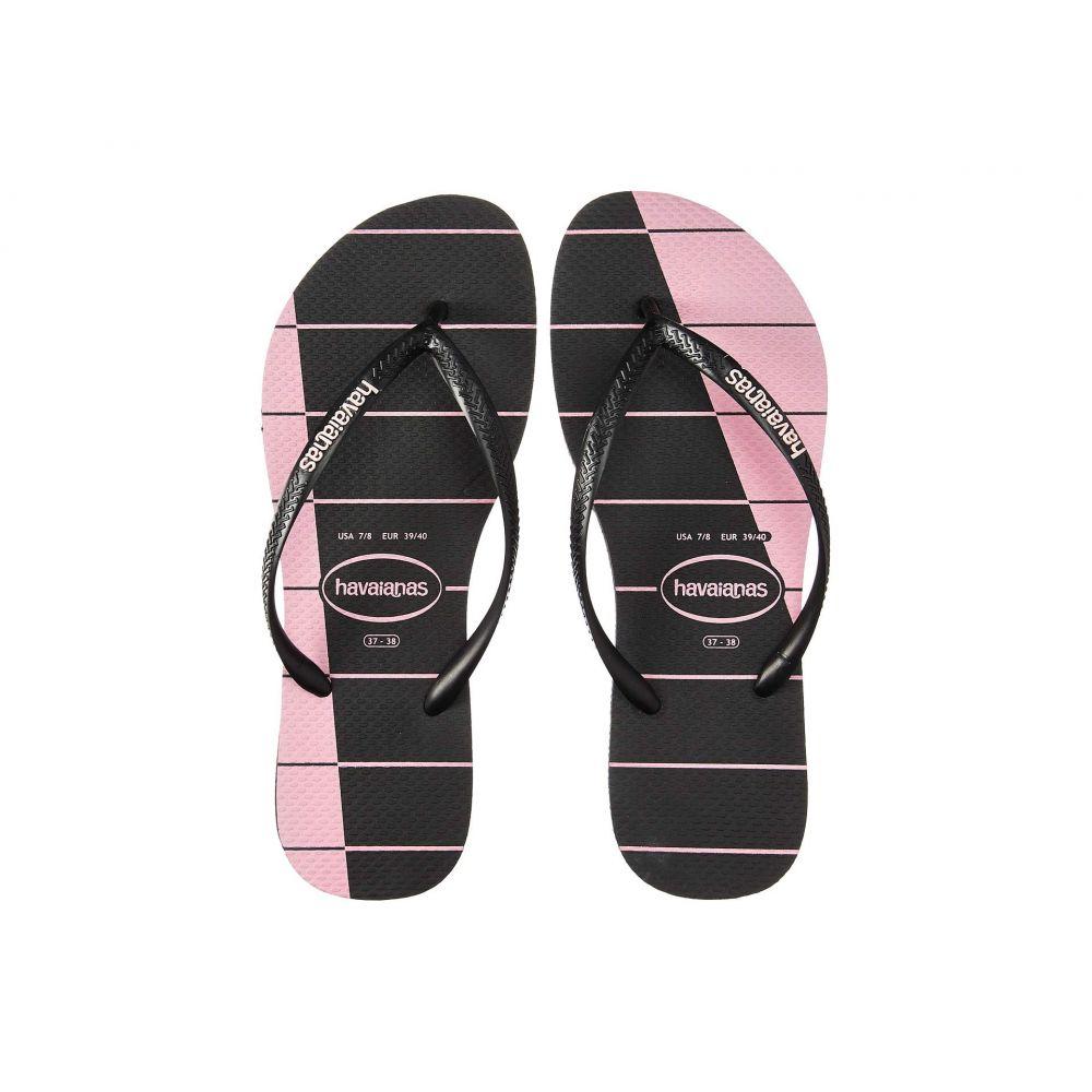 ハワイアナス Havaianas レディース ビーチサンダル シューズ・靴【Slim Trio Stripes】Black/Black/Cream Rose