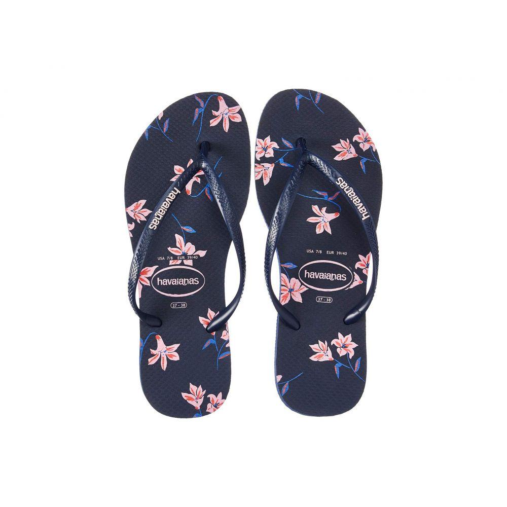 ハワイアナス Havaianas レディース ビーチサンダル シューズ・靴【Slim Floral】Navy Blue
