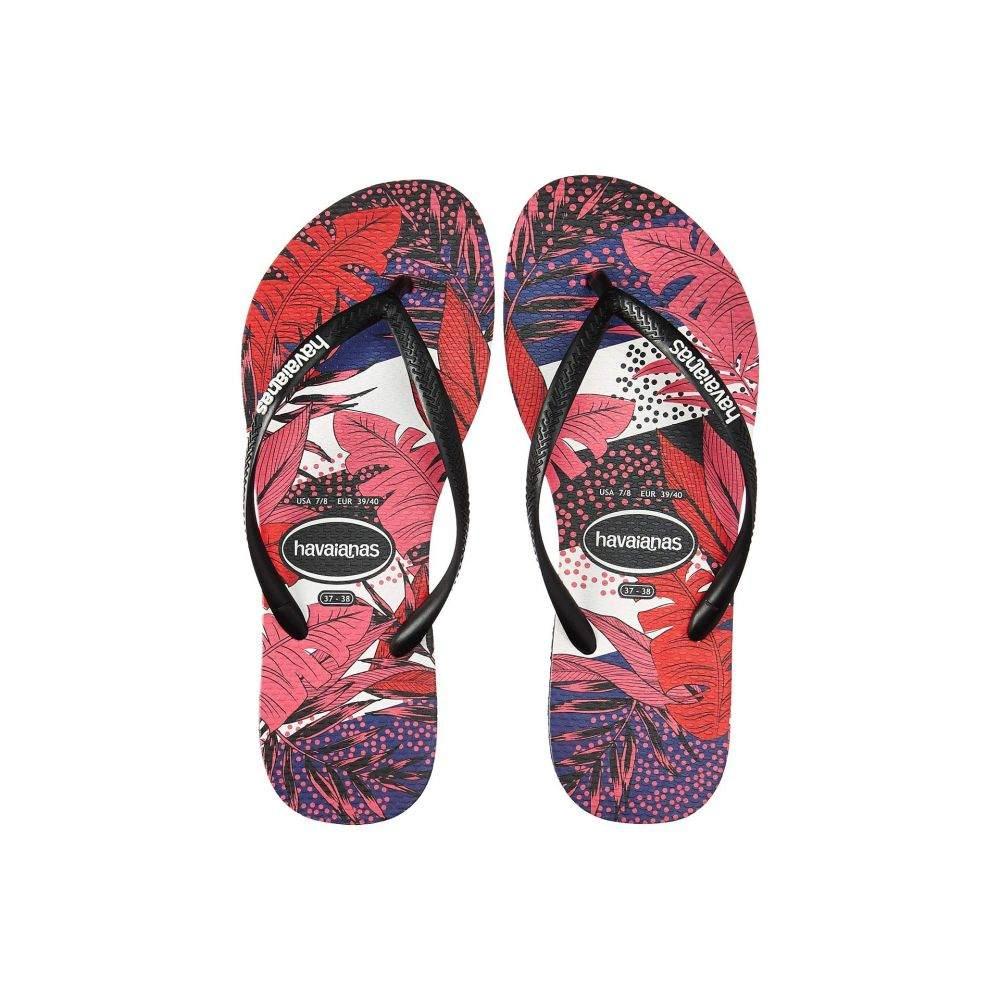 ハワイアナス Havaianas レディース ビーチサンダル シューズ・靴【Slim Surf Floral】Black/White/Red