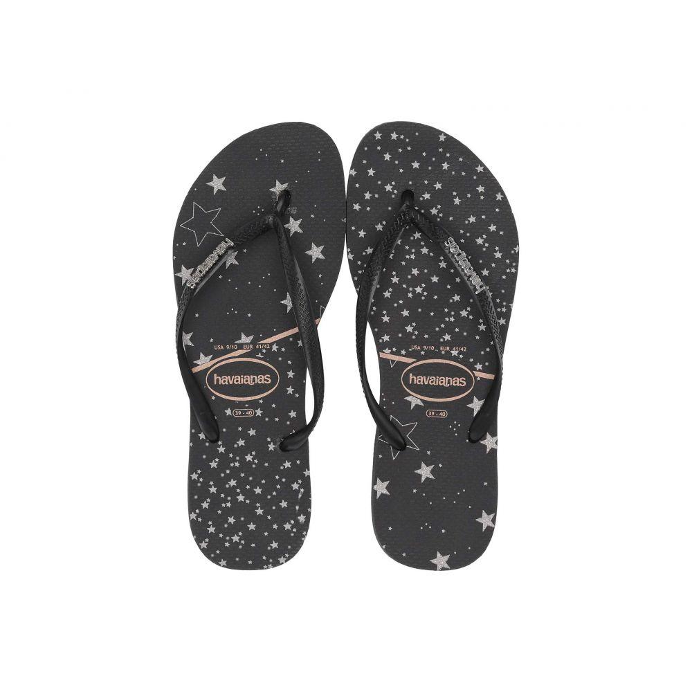 ハワイアナス Havaianas レディース ビーチサンダル シューズ・靴【Slim Logo Metallic Sandal】Black/Black/Silver Metallic