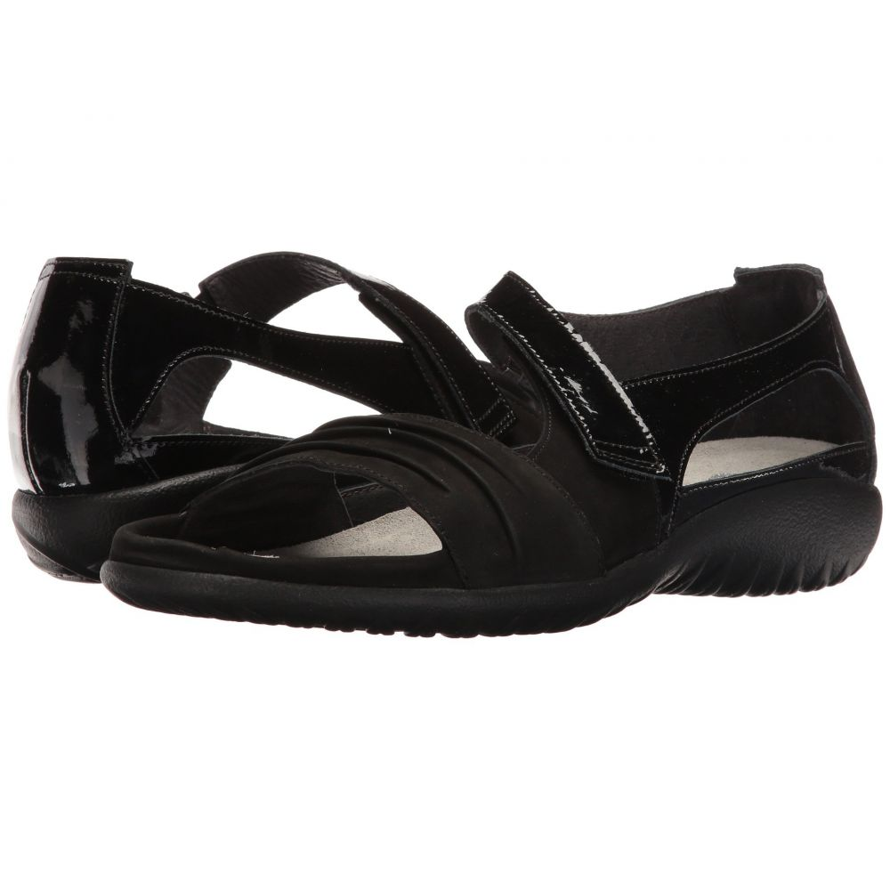 ナオト Naot レディース サンダル・ミュール シューズ・靴【Papaki】Black Patent Leather/Black Velvet Nubuck