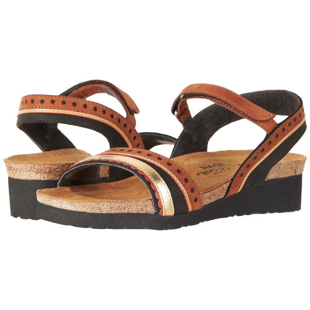 ナオト Naot レディース サンダル・ミュール シューズ・靴【Beverly】Black Velvet Nubuck/Hawaiian Brown Nubuck/Gold Leather
