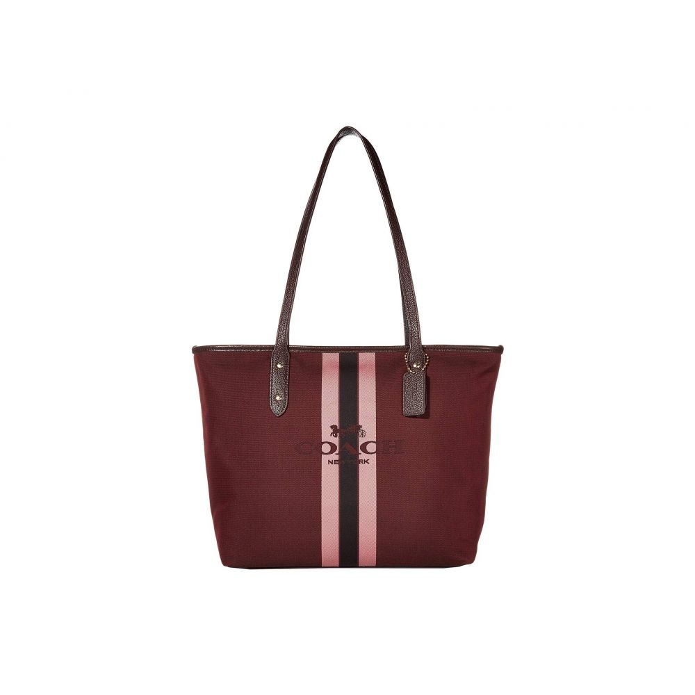コーチ COACH レディース トートバッグ バッグ【Horse and Carriage Jacquard City Tote】Oxblood/Gold