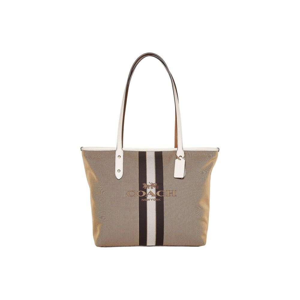 コーチ COACH レディース トートバッグ バッグ【Horse and Carriage Jacquard City Tote】Khaki/Chalk/Gold