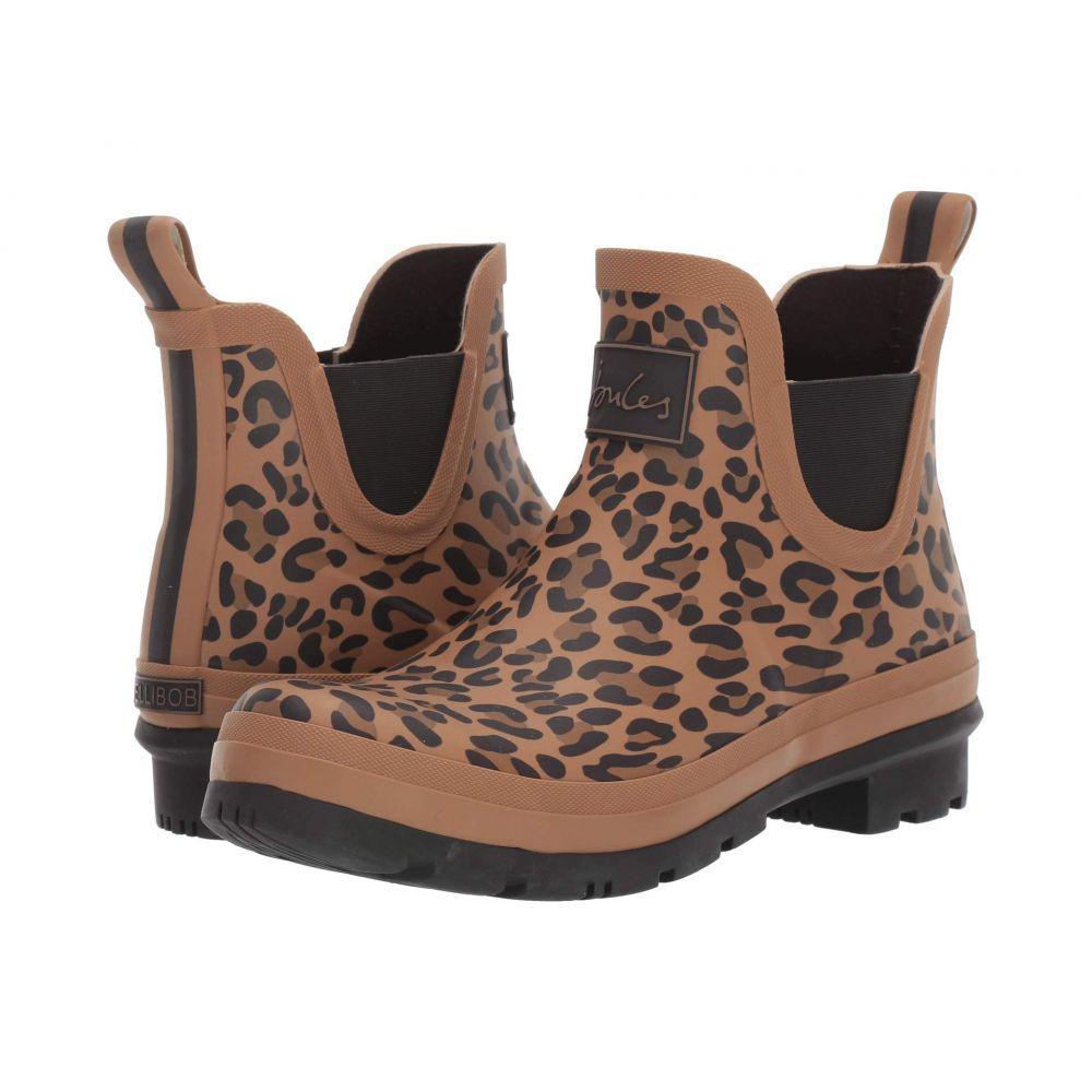 ジュールズ Joules レディース レインシューズ・長靴 シューズ・靴【Wellibob】Tan Leopard