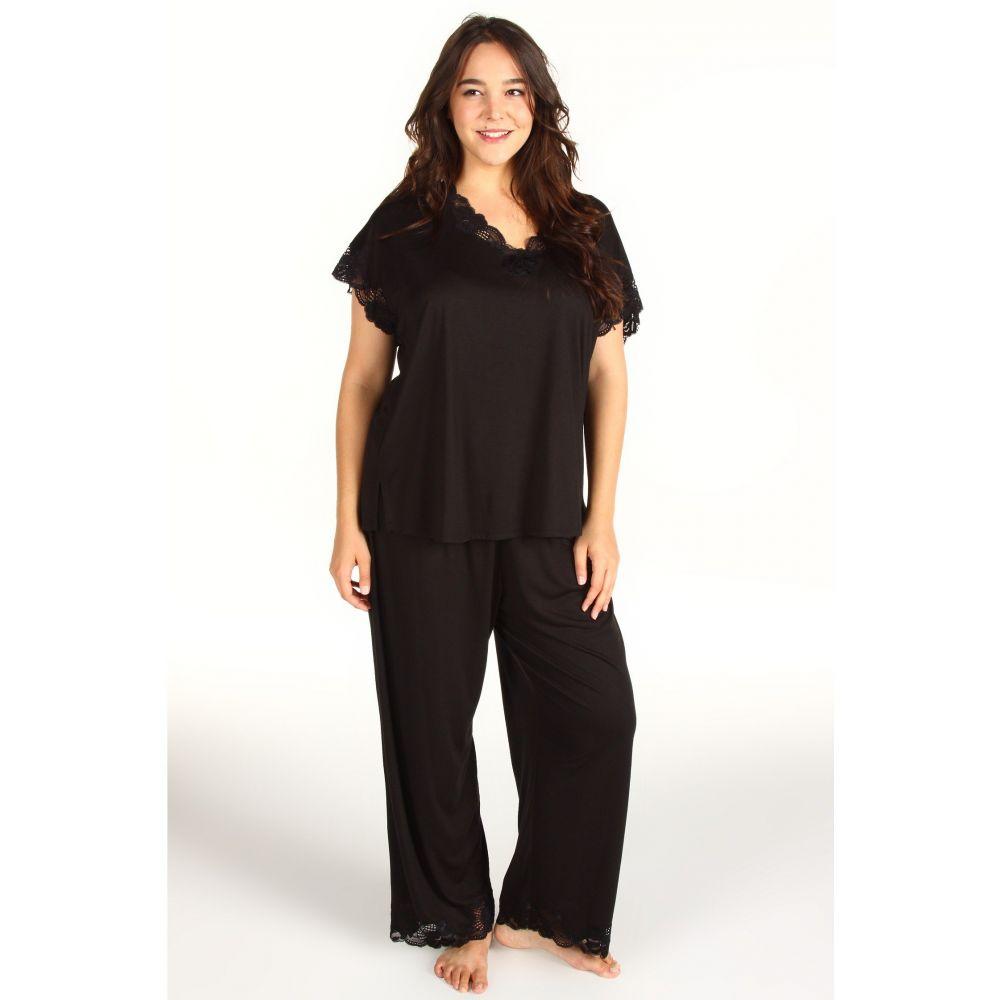 ナトリ Natori レディース パジャマ・上下セット 大きいサイズ インナー・下着【Plus Size Zen Floral PJ Set】Black
