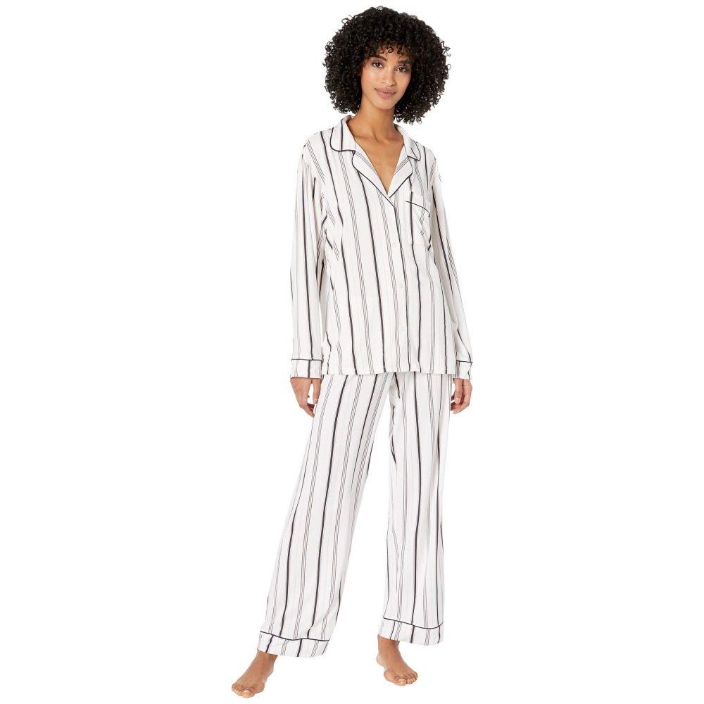 エバージェイ Eberjey レディース パジャマ・上下セット インナー・下着【Sleep Chic - The Long Boxed Pajama Set】Winter Stripes/Navy Heather