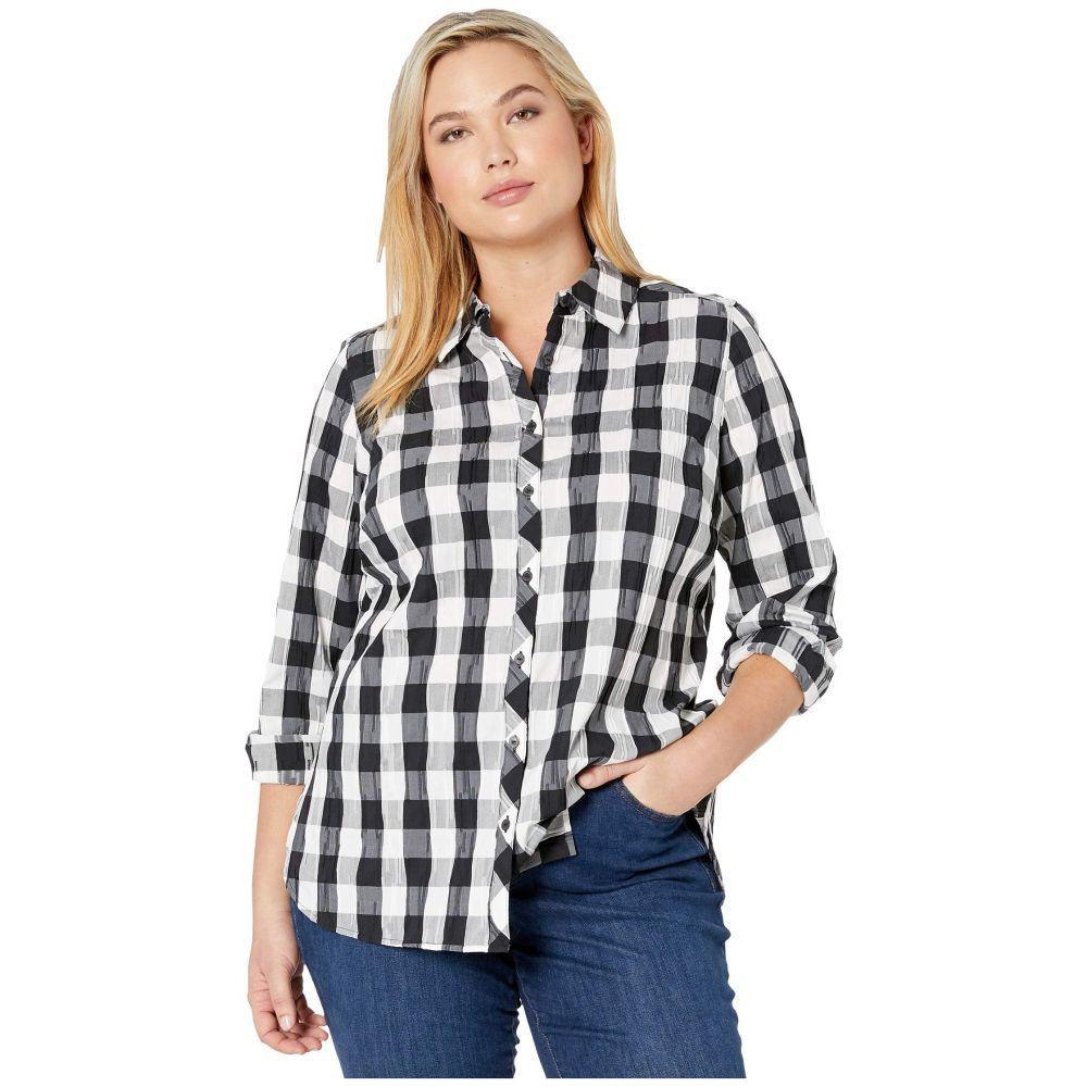 フォックスクロフト Foxcroft レディース ブラウス・シャツ 大きいサイズ トップス【Plus Size Germaine Crinkle Buffalo Shirt】Black