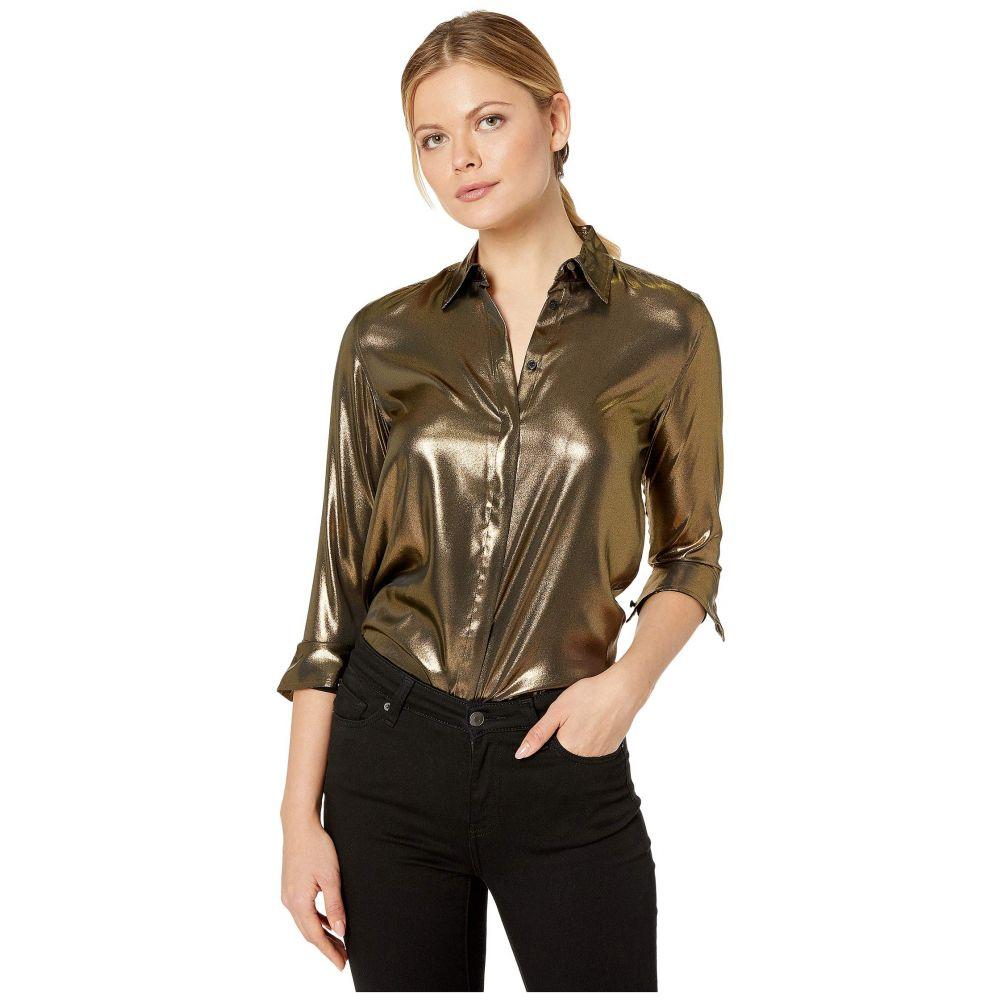 ラルフ ローレン LAUREN Ralph Lauren レディース ブラウス・シャツ トップス【Metallic Satin Shirt】Gold/Black