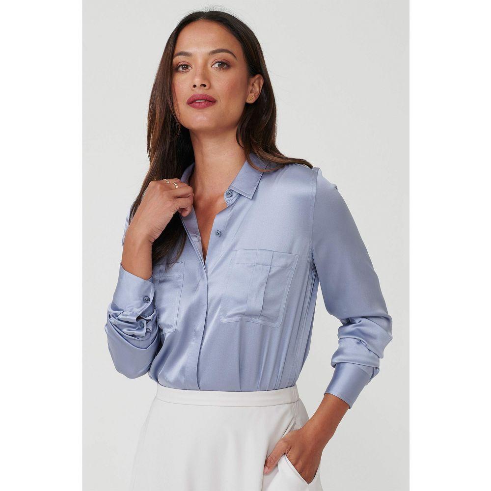 アンタックイット UNTUCKit レディース ブラウス・シャツ トップス【Carlina Eco Friendly Stretch Silk Button-Up Blouse】Light Blue
