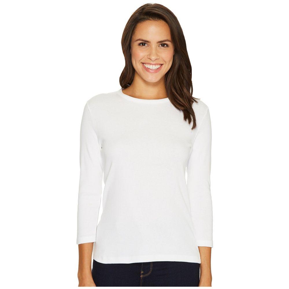 リラピー Lilla P レディース 長袖Tシャツ 七分袖 トップス【3/4 Sleeve Crew Neck】White