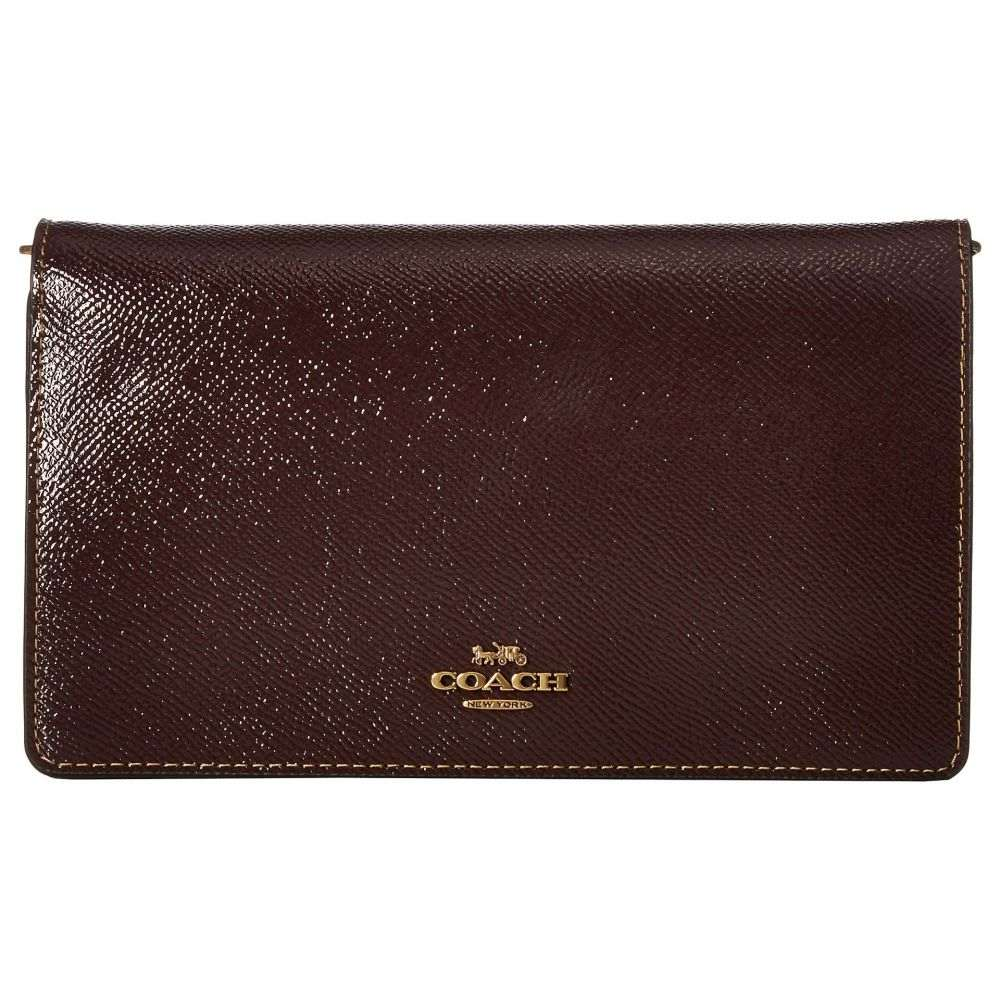 コーチ COACH レディース クラッチバッグ バッグ【Fold-Over Chain Clutch in Crossgrain Patent Leather】B/Oxblood